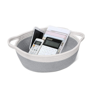 Small Woven Toy Chests Organizers Cotton Rope Basket with Handles Gray Pink 12 x 8 x 5 in