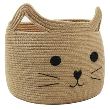 Load image into Gallery viewer, Smile Cat Large Jute Woven Cotton Rope Storage Basket