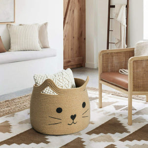 Smile Cat Large Jute Woven Cotton Rope Storage Basket