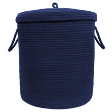 "Load image into Gallery viewer, Timeyard Storage Baskets with Lid Large Woven Rope Nursery Bins for Laundry Room Navy Blue 17.7"" x 15.75"""