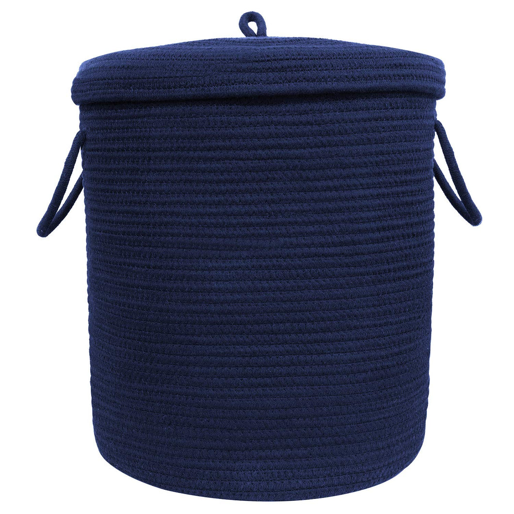Timeyard Storage Baskets with Lid Large Woven Rope Nursery Bins for Laundry Room Navy Blue 17.7