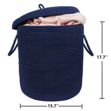 "Load image into Gallery viewer, Storage Baskets with Lid Large Woven Rope Nursery Bins for Laundry Room Navy Blue 17.7"" x 15.75"""