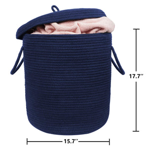 "Storage Baskets with Lid Large Woven Rope Nursery Bins for Laundry Room Navy Blue 17.7"" x 15.75"""