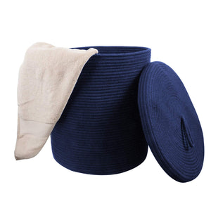 "Storage Baskets with Lid Large Woven Rope Nursery Bins for Laundry Room Navy Blue 17.7"" x 15.75"" blanket storage"