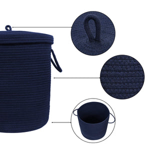 "Timeyard Storage Baskets with Lid Large Woven Rope Nursery Bins for Laundry Room Navy Blue 17.7"" x 15.75"""