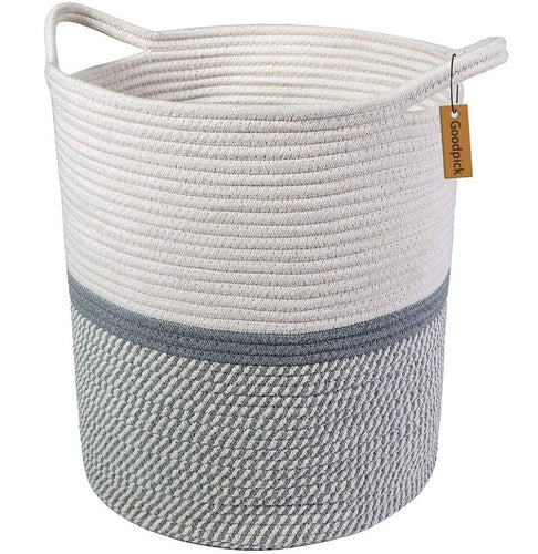 Timeyard Tall Laundry Basket with Handles For Baby Nursery Room Gray