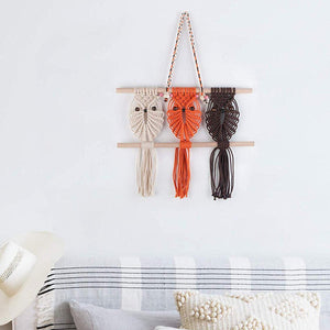 Three Owls Macrame Woven Wall Hanging Art Decor Wall Decor