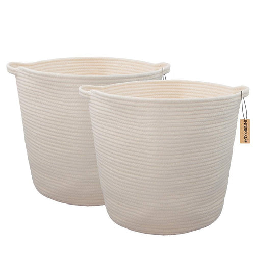 2 PCs Off  White Laundry Basket with Handles Cotton Rope Soft Woven Floor Basket