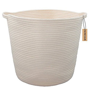 Cream Hamper Baskets for Bedroom Storage Corner Laundry Basket 12.6 x 16.0 x 15.0 in