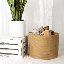 Load image into Gallery viewer, Large Jute Basket for Indoor Planter Baby Nursery Bin for Building blocks 15.8 x 12.6 in