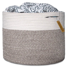Load image into Gallery viewer, Timeyard Large Stackable Storage Bins Woven Blanket Basket Off White Brown