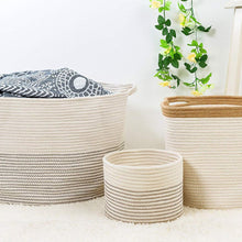 Load image into Gallery viewer, Timeyard Large Storage Baskets with Handles Cotton Jute Rope Baby Nursery Bin how to use it