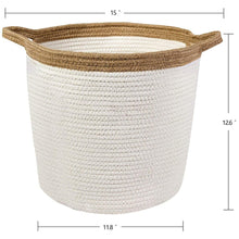 Load image into Gallery viewer, Large Storage Baskets with Handles Cotton Jute Rope Baby Nursery Bin large size