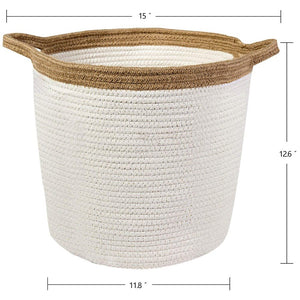 Large Storage Baskets with Handles Cotton Jute Rope Baby Nursery Bin large size