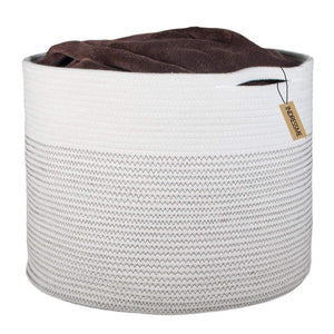 Timeyard Laundry Hamper XL Soft Cotton Storage Basket for Nursery Bins White Gray