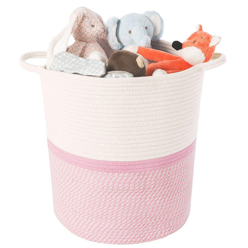 Timeyard Pink Basket for Kids Large Laundry Hampers Nursery Bins toy storage