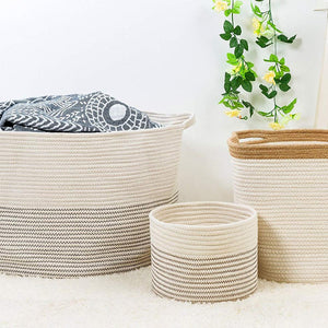 Small Woven Storage Bins for Keys Rings Organizer Cotton Rope Desk Basket 9.4 x 7.1 in
