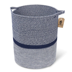 Timeyard Woven Clothes Basket Large Soft Cotton Storage Laundry Hamper Navy Blue