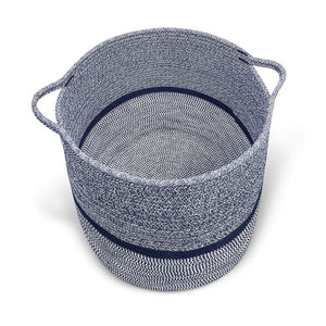 Timeyard Woven Clothes Basket Large Soft Cotton Storage Laundry Hamper Navy Blue bottom