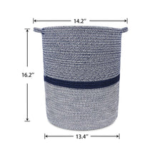 Load image into Gallery viewer, Timeyard Woven Clothes Basket Large Soft Cotton Storage Laundry Hamper Navy Blue large size