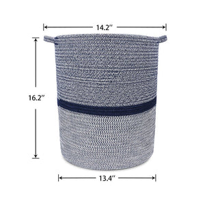 Timeyard Woven Clothes Basket Large Soft Cotton Storage Laundry Hamper Navy Blue large size