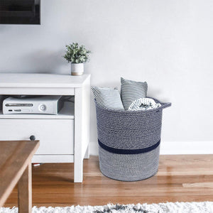 Timeyard Woven Clothes Basket Large Soft Cotton Storage Laundry Hamper Navy Blue living room