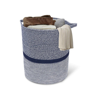 Timeyard Woven Clothes Basket Large Soft Cotton Storage Laundry Hamper Navy Blue for blanket storage