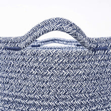 Load image into Gallery viewer, Timeyard Woven Clothes Basket Large Soft Cotton Storage Laundry Hamper Navy Blue with handles