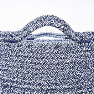 Timeyard Woven Clothes Basket Large Soft Cotton Storage Laundry Hamper Navy Blue with handles
