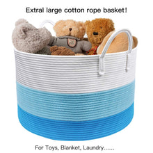 Load image into Gallery viewer, Timeyard XXXL Decorative Storage Bins Blue Basket Toy Basket for Baby Nursery Room