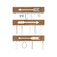 Load image into Gallery viewer, Wall Hanging Jewelry Organizer Farmhouse Rustic Wood Necklace Holder Earring Display Rack 3 PCs