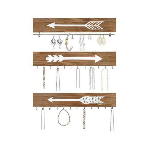 Wall Hanging Jewelry Organizer Farmhouse Rustic Wood Necklace Holder Earring Display Rack 3 PCs