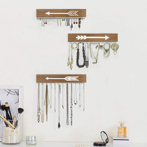 Wall Hanging Jewelry Organizer Farmhouse Rustic Wood Necklace Holder Earring Display Rack 3 PCs living room storage