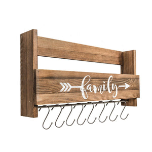Wall Shelf With Hooks Rustic Wood Kitchen Rack