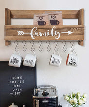 Load image into Gallery viewer, Wall Shelf With Hooks Rustic Wood Kitchen Rack Kitchen