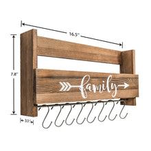 Load image into Gallery viewer, Wall Shelf With Hooks Rustic Wood Kitchen Rack Size