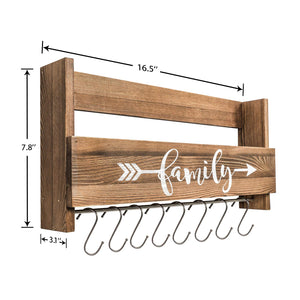 Wall Shelf With Hooks Rustic Wood Kitchen Rack Size