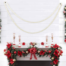 Load image into Gallery viewer, White Wood Bead Garland Holiday Party Supplies Fireplace Farmhouse Christmas Decor 9 foot