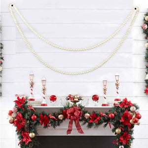 White Wood Bead Garland Holiday Party Supplies Fireplace Farmhouse Christmas Decor 9 foot