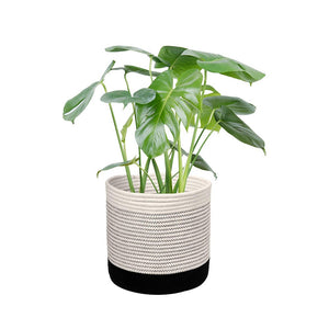 Woven Black Plant Basket Cotton Rope White Stripe Planter Cute Flower Pot Holder small size
