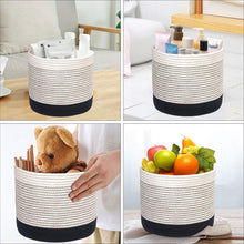 Load image into Gallery viewer, Woven Black Plant Basket Cotton Rope White Stripe Planter Cute Flower Pot Holder small basket