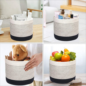 Woven Black Plant Basket Cotton Rope White Stripe Planter Cute Flower Pot Holder small basket