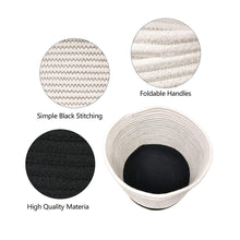 Load image into Gallery viewer, Woven Black Plant Basket Cotton Rope White Stripe Planter Cute Flower Pot Holder well made craftsmanship