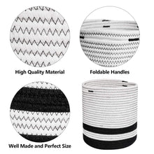 Load image into Gallery viewer, Woven Cotton Rope Plant Basket Black and White Stripes Details