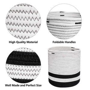 Woven Cotton Rope Plant Basket Black and White Stripes Details