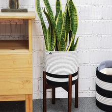 Load image into Gallery viewer, Woven Cotton Rope Plant Basket Black and White Stripes For Bedroom