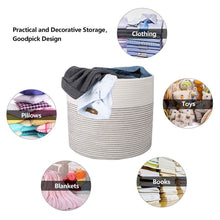 Load image into Gallery viewer, Woven Toy Basket Cotton Rope Nursery Bins for Baby Blanket Basket 15 ×13 in how to use it