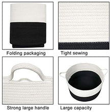 Load image into Gallery viewer, XXXL Cotton Rope Woven Basket, Throw Blanket Storage Bins with Handles Black