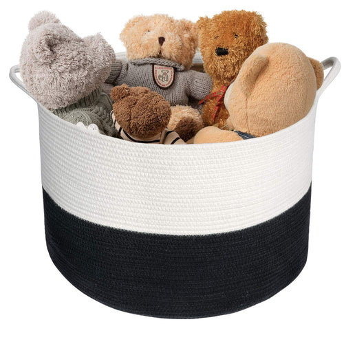 XXXL Cotton Rope Woven Basket, Throw Blanket Storage Bins with Handles Black