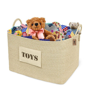 XXL Toy Storage Basket for Baby Girl Boys Playroom Organizer Rectangular Cotton Rope Basket